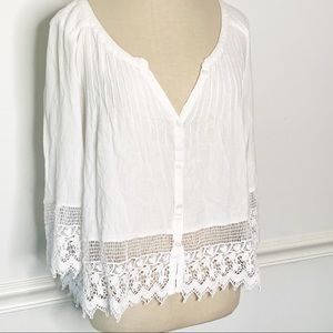 American Eagle Lace Button Up Blouse Small